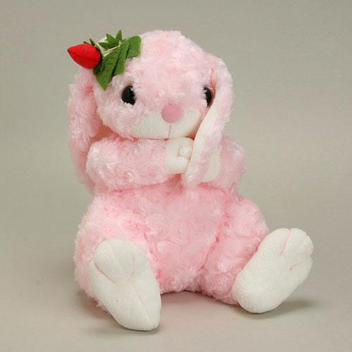 うさぎのロップイヤー ぬいぐるみ M ワイルドストロベリー ピンク 【2011年干支/ウサギ/イチゴ】